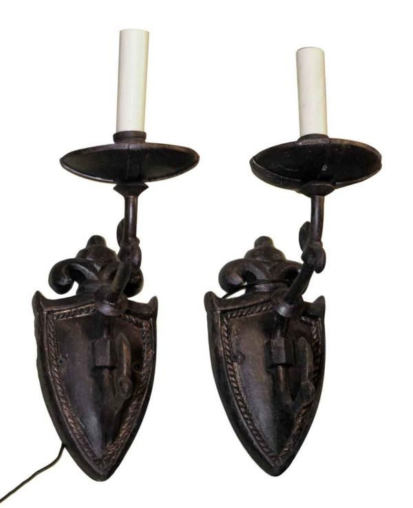 Pair of Single Arm Bronze Shield Sconces - Sconces & Wall Lighting