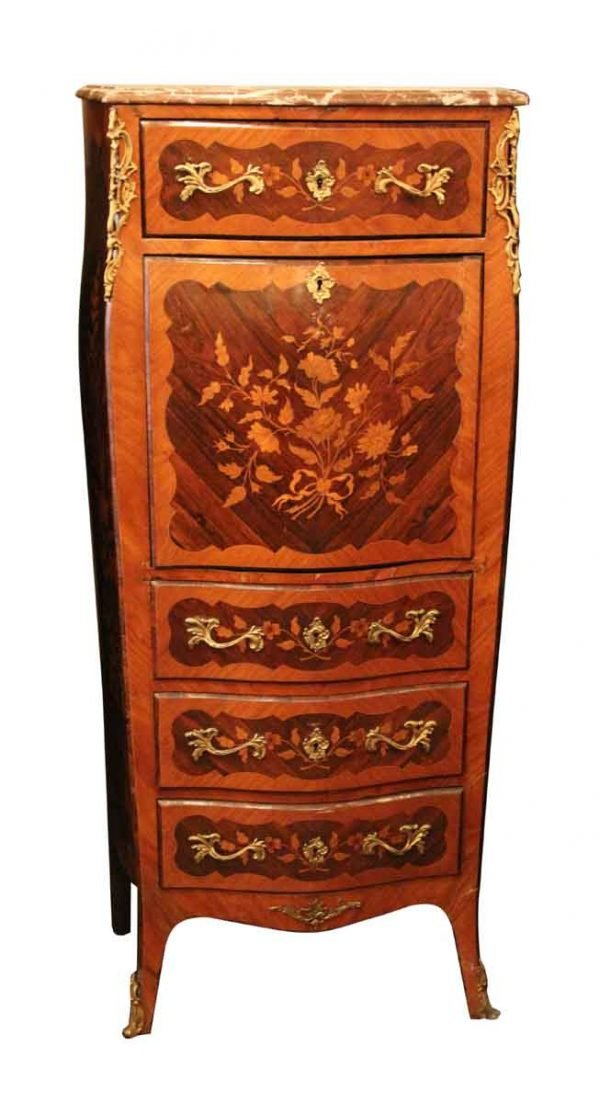 Inlaid Chest With Bronze Appliques & Marble Top - Cabinets