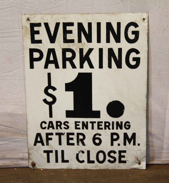 Enamel Metal Parking Sign - Vintage Signs