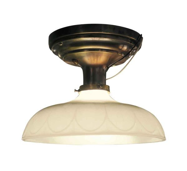 Victorian Flush Mount Light with Antique Brass Canopy - Flush & Semi Flush Mounts
