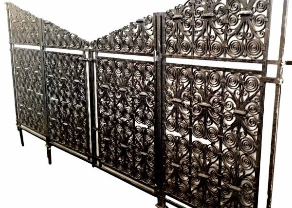 Highly Ornate Hand Scrolled & Hammered Iron Gates - Gates