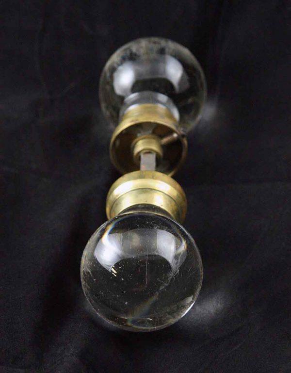 Original Spherical Glass Knob Set with Brass Accents - Door Knobs