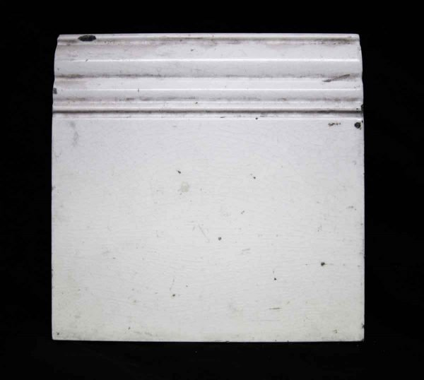 Salvaged White End Baseboard Tile - Bull Nose & Cap Tiles