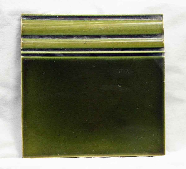 Salvaged Dark Green Edge Tile - Bull Nose & Cap Tiles