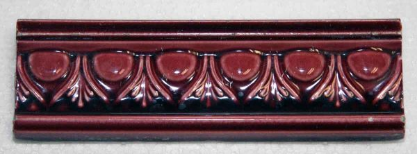 Set of Red Ornate Decorative Trim Tile - Bull Nose & Cap Tiles