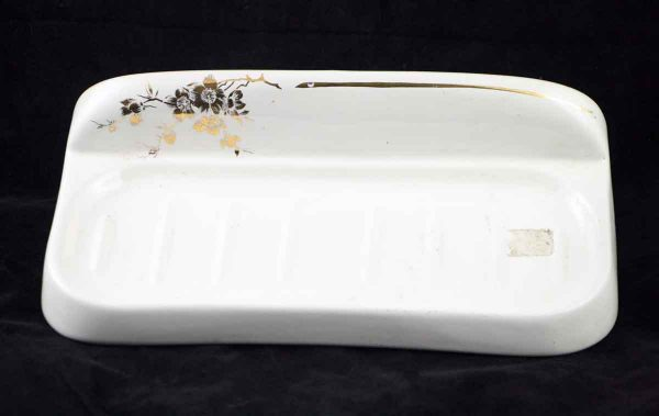 Ceramic Bath Tray with Gold Floral Pattern - Bathroom
