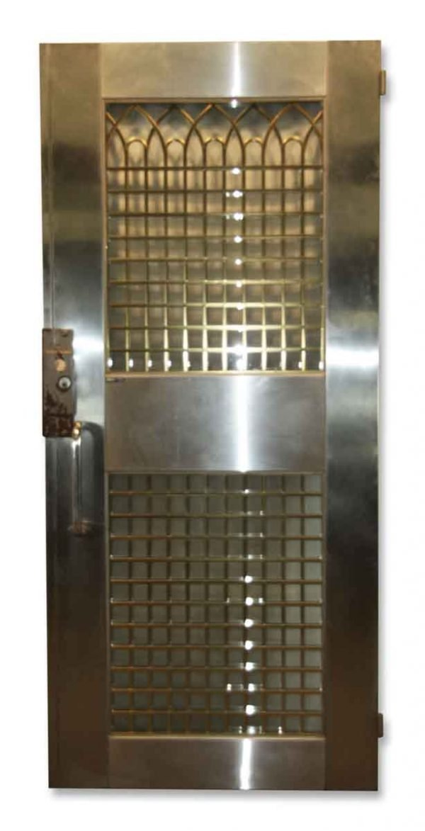 Stainless Steel Entry Door with Decorative Brass Grill - Specialty Doors