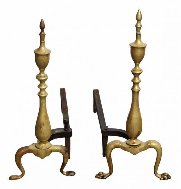 Antique Bronze Andiron Set - Andirons