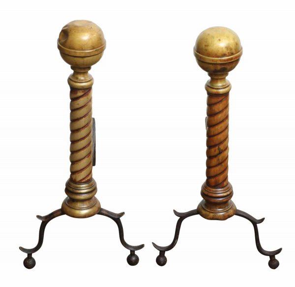 Original Bronze Andirons - Andirons