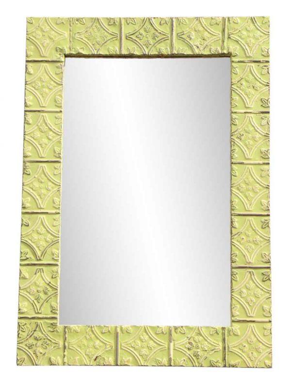 Yellow Tulip Pattern Ceiling Tin Frame Mirror - Antique Tin Mirrors