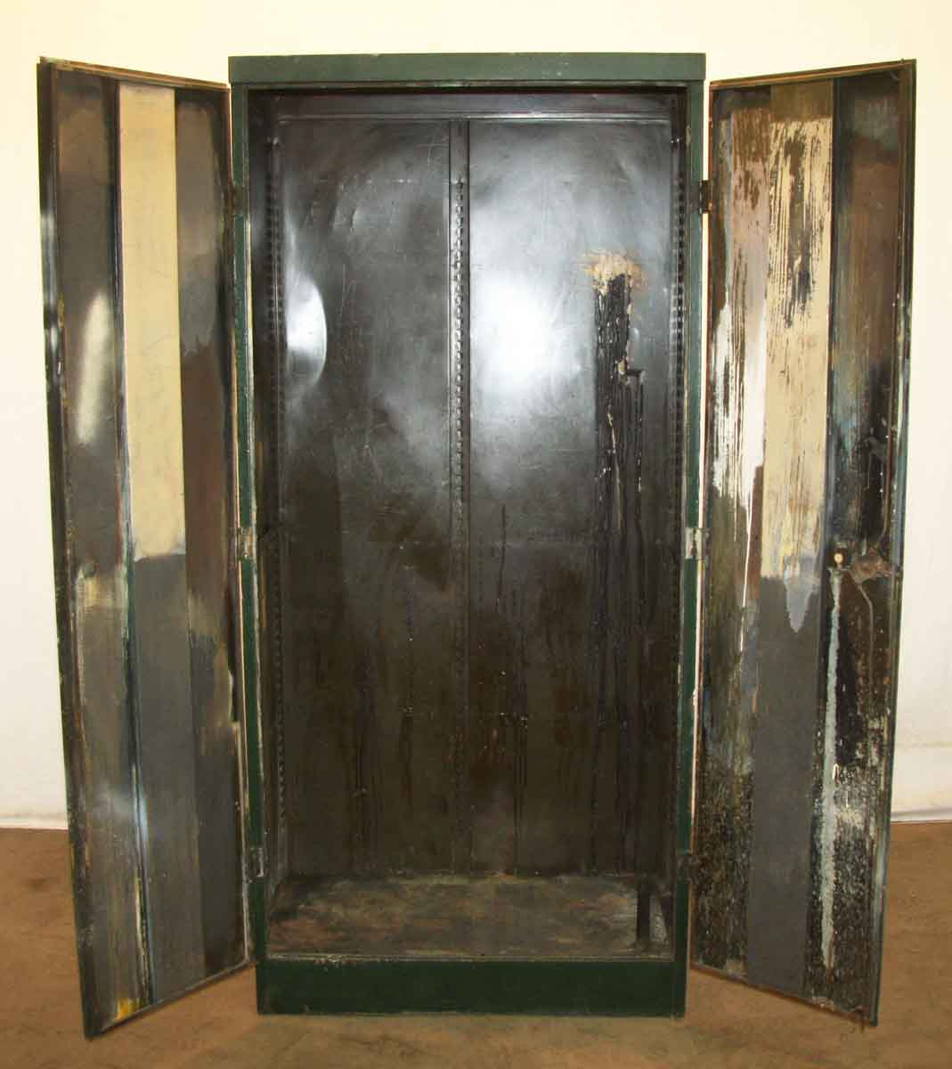 Industrial metal closet with green paint olde good things for Industrial paint for metal