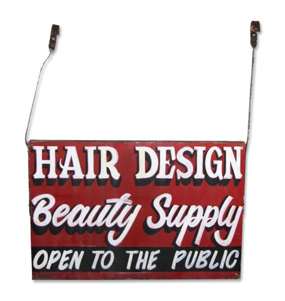 Double Sided Hanging Metal Beauty Supply Sign - Vintage Signs
