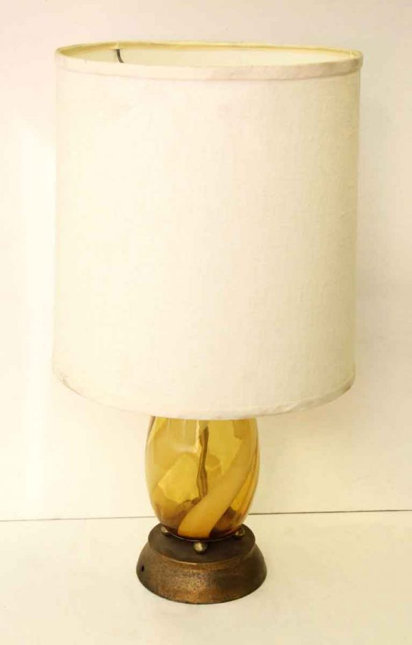 Glass Lamp with Wide White Shade - Table Lamps