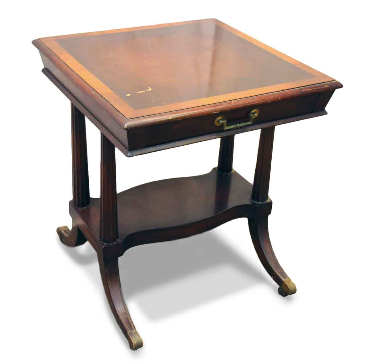 Antique wooden side table with duncan phyfe style legs - Antique side tables for living room ...