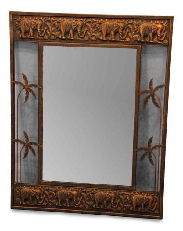 Stamped Copper Elephant & Palm Tree Mirror - Antique Mirrors