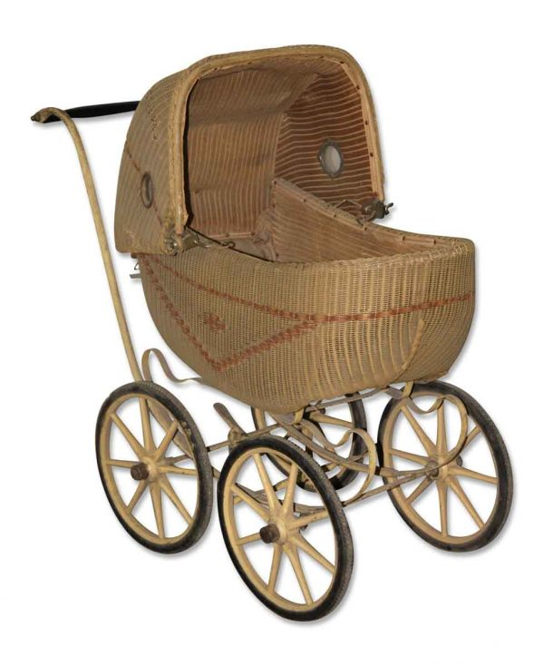 Vintage Wicker Baby Carriage - Children's Items