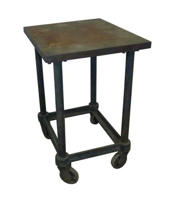 Iron Base Table on Wheels - Industrial