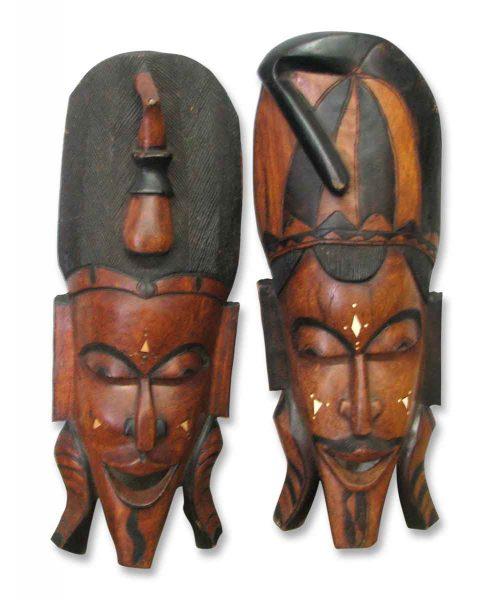 Two Carved Wood Tribal Masks - Other Wall Art
