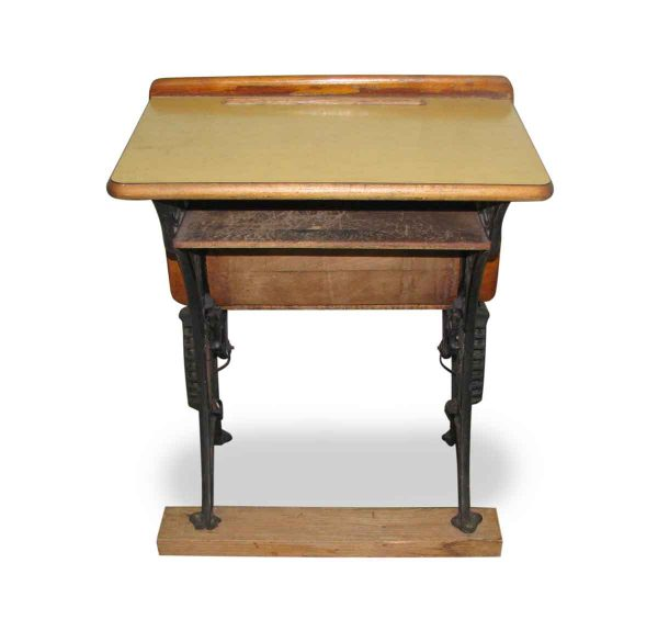 Antique School Desk with Iron Legs - Commercial Furniture