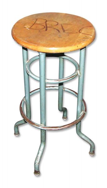 Metal Stool with Wooden Seat - Seating
