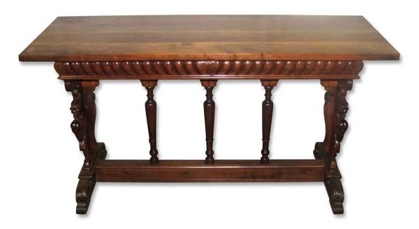 Carved Figures Oak Console Table - Entry Way