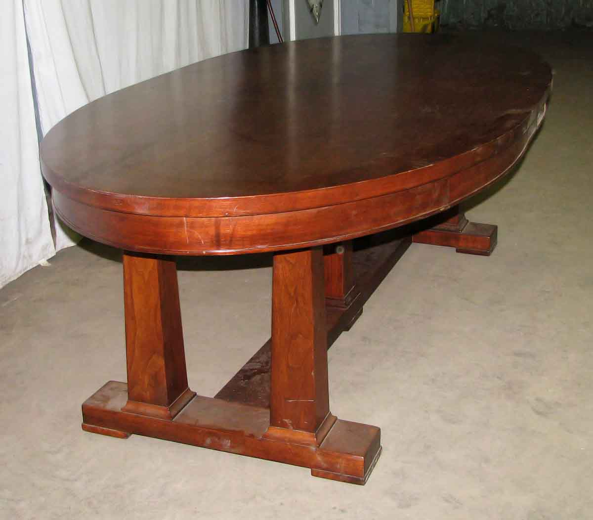 Antique Oval Library Table With Walnut Veneer