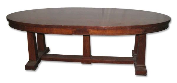 Antique Oval Library Table with Walnut Veneer - Kitchen & Dining