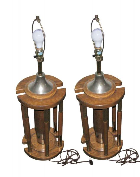 Pair of Wooden Vintage Lamps - Table Lamps