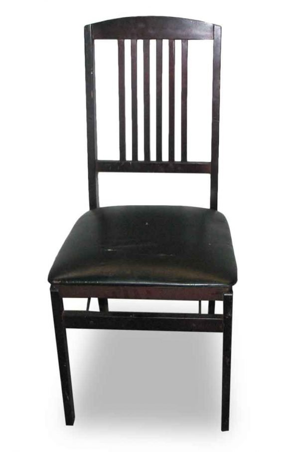 Antique Black Folding Wood Chair - Seating