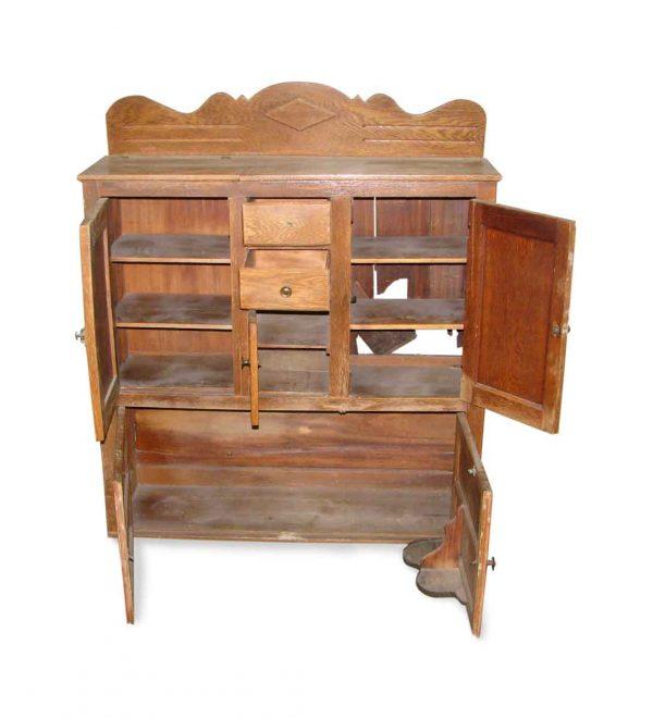 Hoosier Style Oak Kitchen Cabinet - Flea Market