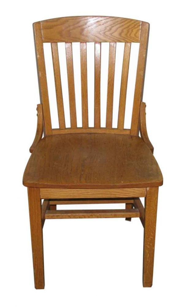 Oak Slatted Back Vintage Chair - Seating