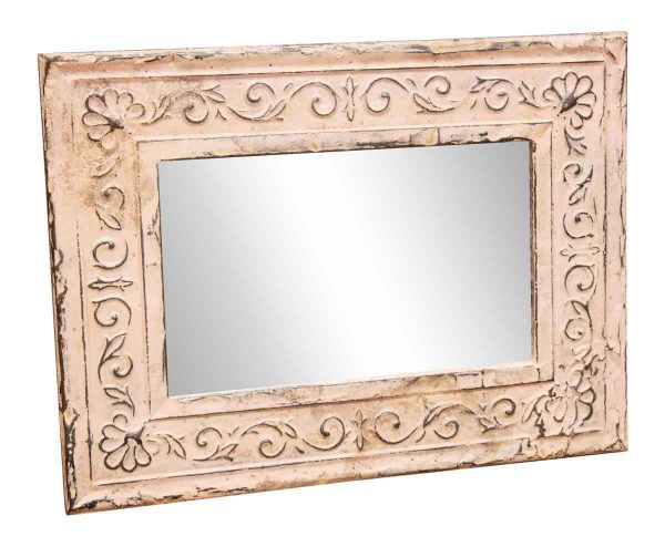 Pink Border Vine Tin Frame Mirror - Antique Tin Mirrors
