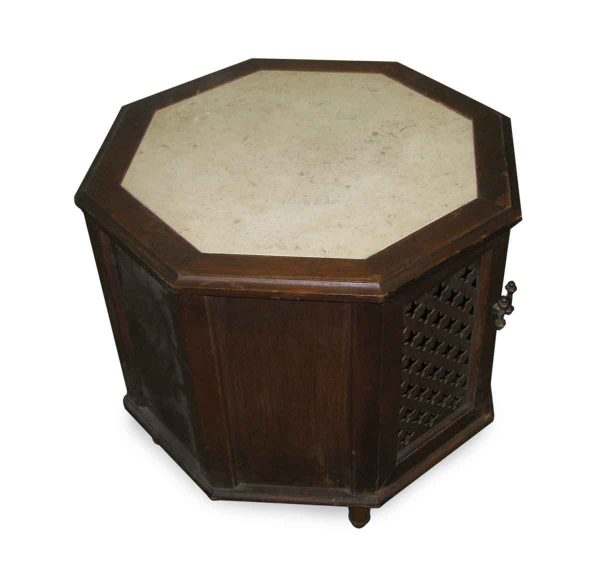 Octagon Shaped Side Table with Open Cut Front & Marble Top - Living Room
