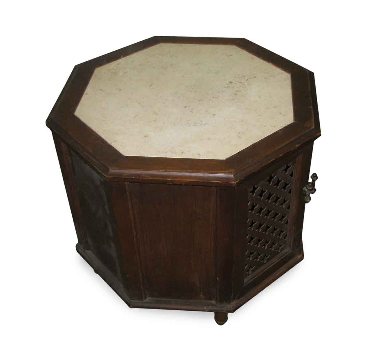 Octagon Side Table ~ Octagon shaped side table with open cut front marble top