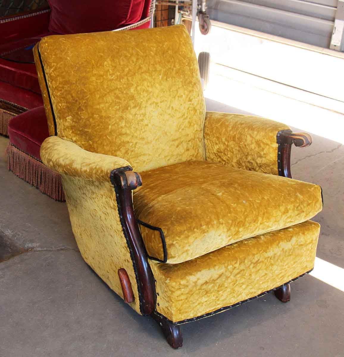 Antique Recliner with Crushed Yellow Velvet & Antique Recliner with Crushed Yellow Velvet | Olde Good Things islam-shia.org