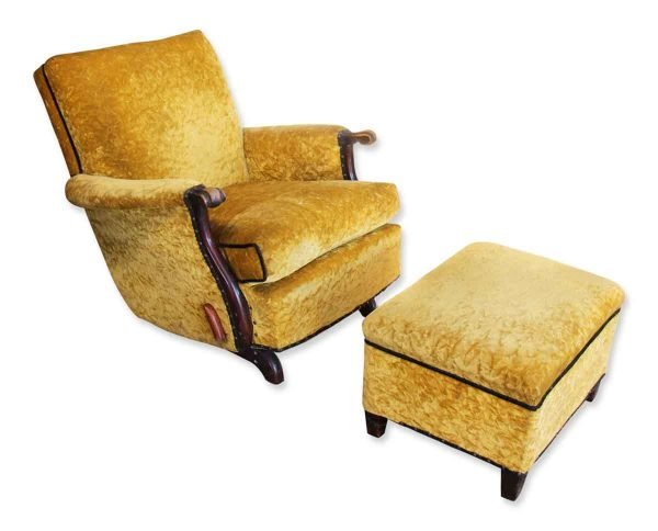 Antique Recliner with Crushed Yellow Velvet - Living Room