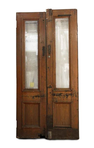Double Oak Entry Doors with Single Panel of Glass At Top - Entry Doors