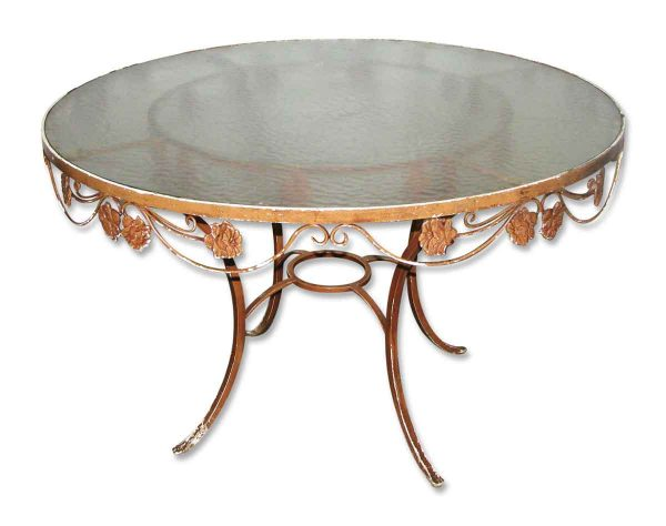 Wrought Iron Patio Table with Glass Top - Patio Furniture