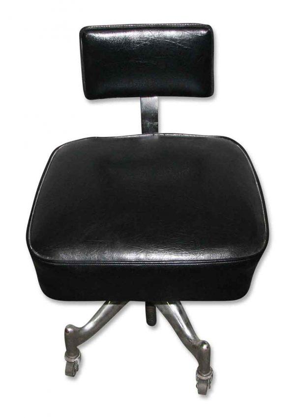 Vintage Vinyl or Leather Chair on Metal Rolling Legs - Seating