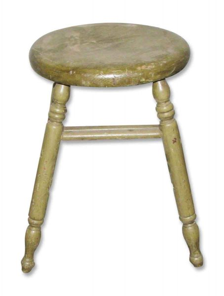 Vintage Wooden Stool Painted Grass Green - Flea Market
