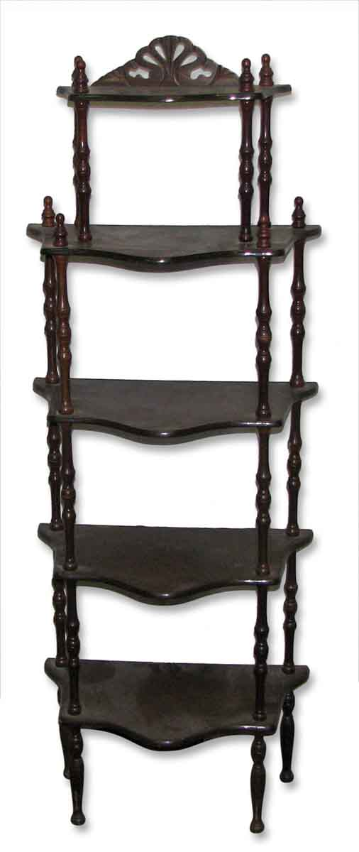 Dark Wooden Five Tier Shelf - Shelves & Racks