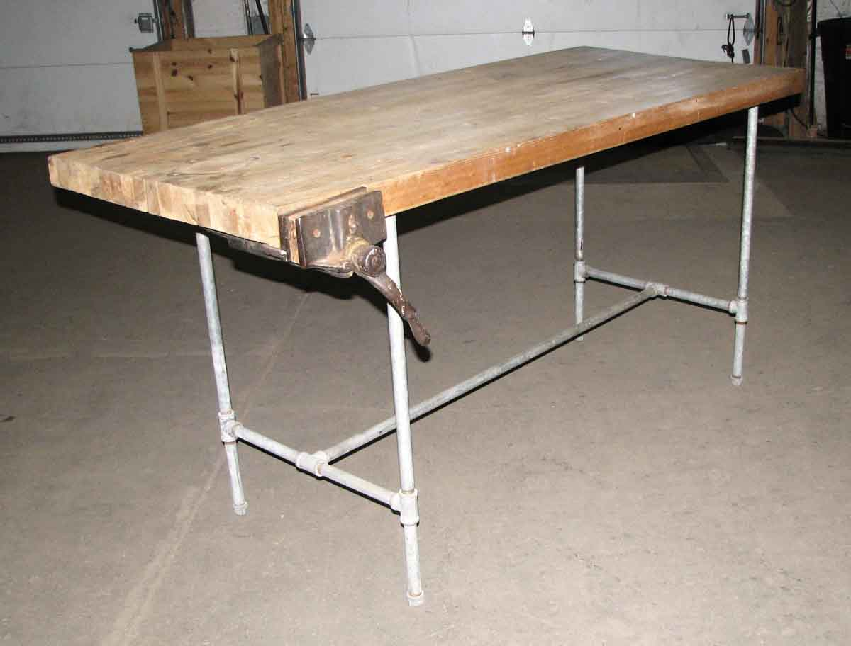 Steel Pipe Frame Work Bench with Butcher Block Top | Olde Good Things