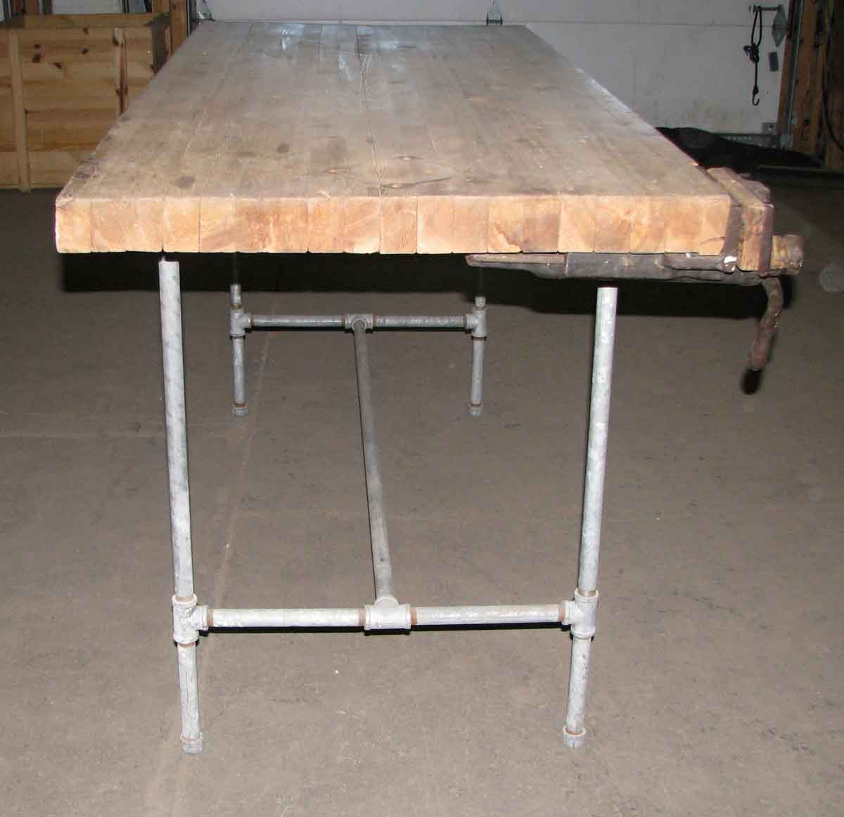 Steel pipe frame work bench with butcher block top olde