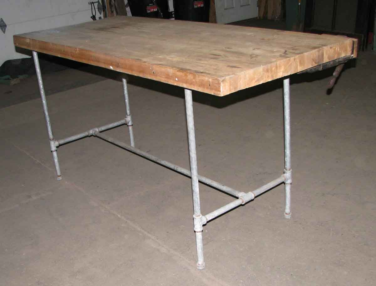Steel Pipe Frame Work Bench With Butcher Block Top