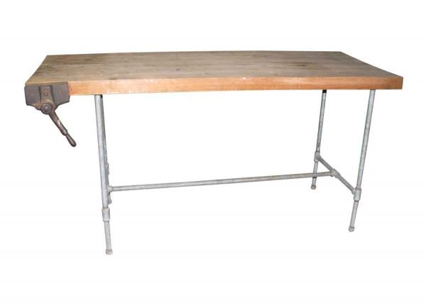 Steel Pipe Frame Work Bench with Butcher Block Top - Industrial