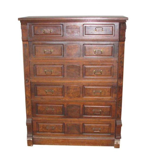 Stately Walnut Dresser with Burled Walnut Panels - Bedroom