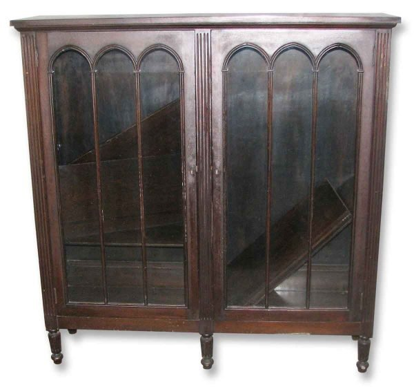 Antique Oak Bookcase with Glass Front - Bookcases