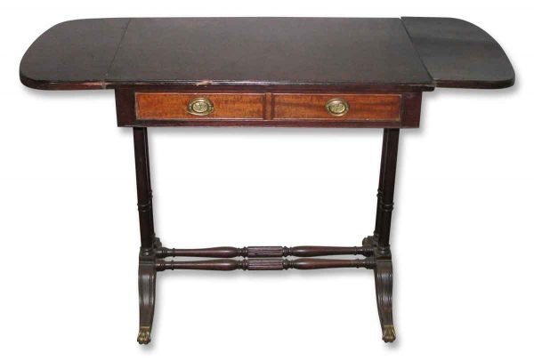 Antique Mahogany Side Table with Leaves - Living Room