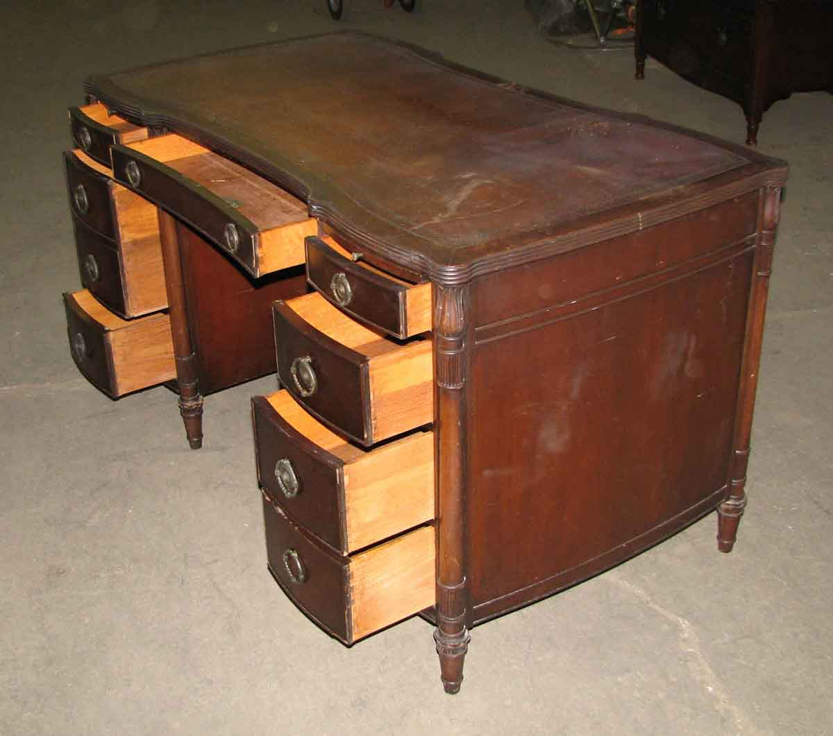 Elegant partners desk with leather top olde good things - Vintage pieces of furniture old times elegance ...