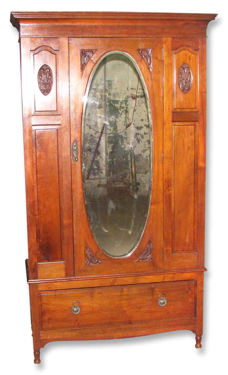 Early American Carved Cherry Armoire With Beveled Mirror